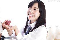 Pretty student Kasugano Yui masturbating and giving handjob