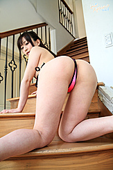 On All Fours On Stairs Teen Japanese Girl Yui In Pink Bikini