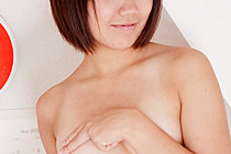 Short Haired Shiori Flashing Small Tits And Playing With Toy