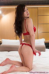 Kneeling On Bed Bare Feet Long Hair Down Her Back Bra And Panties Thumbs In Panties