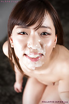 Nishino Ena looking up cum on her face small breasts with thick nipples