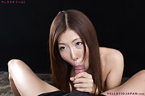 Miura Rin on her knees sucking cock and taking cum in her mouth