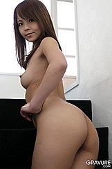 Saki Onodera Looking Over Her Shoulder Long Hair Pert Small Breast Round Ass Hand On Waist
