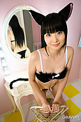 Kneeling On Chair Wearing Underwear In Cat Ears Hands Resting On Chair Mirror Showing Ass