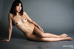 Mana Aoki Sitting Nude On Floor Long Hair Small Breasts Legs Pressed Together Bare Feet