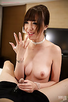Raising her cum covered hand fingers stretched out holding his spent cock bare breasts pearl necklace