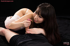 Oguri Miku Giving Handjob Long Hair Over Her Forearm In Stockings