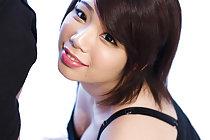 Cutie Ashikawa Mei showing cleavage as she gives handjob