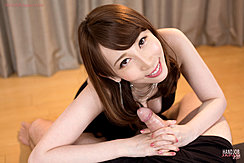Giving Handjob With Both Hands Clasped Around Cock