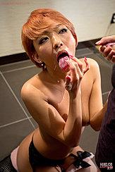 Licking Cum From Her Fingers Wearing Garter Belt