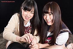 Two Long Haired Students Giving Handjob Seifuku Uniform