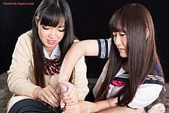 Giving Handjob With Both Hands In Sailor Suit Uniform
