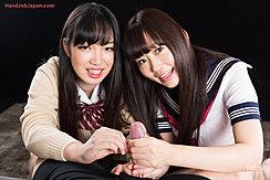Aoyama Kanon Watching Kogal Aino Neko Giving Handjob In Uniform Long Hair