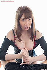 Giving Handjob Cock Cumming Over Her Hands
