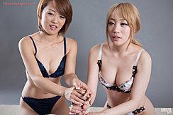 Girls Giving Handjob Together In Underwear Big Breasts