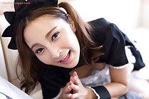 Pretty maid Hoshikawa Uika on her knees giving handjob