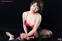 Giving handjob masturbating in lingerie breast exposed