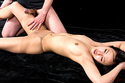Naked In Ripped Pantyhose Man Rubbing His Cock Against Her Thigh Bare Breasts