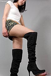 Yokoyama Natsuki Gives Footjob In Long Black Boots Wearing Tshirt And Denim Mini Skirt