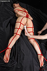 Legs Spread Nude Lying Face Down Masturbated With Shibari Rope Bare Feet