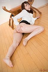 Office Lady Kisaki Aya Lying On Floor Bare Feet Hand On Her Ass