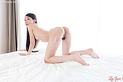 Rio Kamimoto On All Fours Nude Looking Over Her Shoulder Pussy Exposed Bare Feet Long Hair