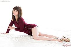 Lying On Floor In Scarlet Dress High Heels