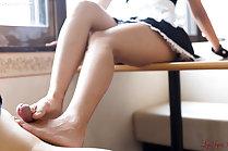 Maid Uika Hoshikawa giivng footjob with bare feet