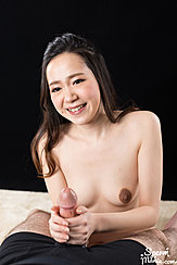 Hands Wrapped Around Base Of Spent Cock Small Breasts