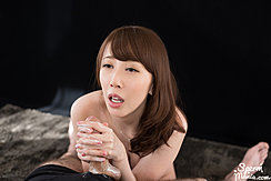 Kisaki Aya Giving Handjob With Both Hands Long Hair Over Her Shoulder
