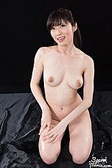 Yurikawa Sara Kneeling Nude Looking Up Nice Breasts Hands Resting On Her Thigh