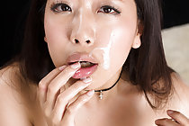Fukatsu Miyuki in black basque sucks two cocks takes facial