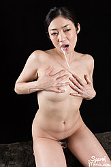 Enami Ryu Kneeling Nude Cum Dripping From Her Mouth To Her Bare Breasts