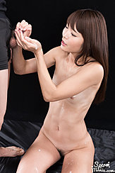 Kneeling Nude Small Breasts Hands Around Cock Cum Running Down Her Hand