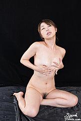 Katou Tsubaki Kneeling Nude Fondling Her Small Breasts Pussy Hair