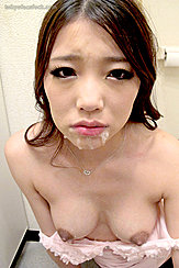 Yuuki Aoi  With Saliva And Cum Around Her Mouth Top Pulled Down Over Small Breasts