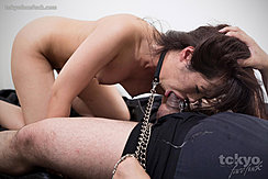 Momota Mayuka Deep Throating Cock Kneeling Naked Bondage Chain Pulled Taut