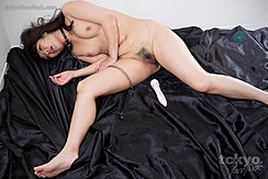 Momota Mayuka Seated Naked Small Breasts Wearing Bondage Chain Legs Open Magic Wand Between Her Legs