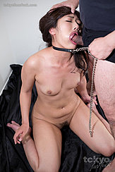 Face Fucked Cheek Bulging Pulling Her Bondage Chain Small Tits Trimmed Pussy Hair