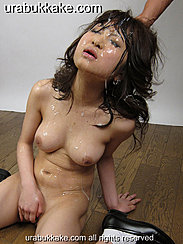Masturbating On Her Knees On Wood Floor Upturned Face Covered In Cum