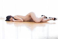 Lying On Floor Naked Wearing Black High Heels