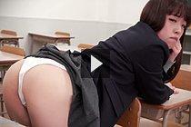 Student Ena Nishino Bending Over Desk And Showing Her Panties