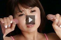 Yamashita Ayaka stroking two cocks in lingerie