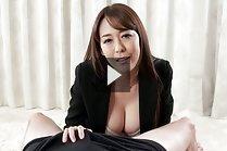 Busty Asagiri Akari strips jacket and gives handjob topless