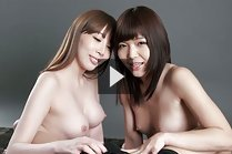 Breasty Kisaki Aya and Aoi Shino giving handjob topless